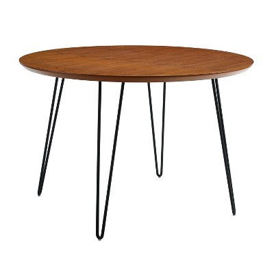 "46"" Round Hairpin Leg Dining Table Walnut - Saracina Home"