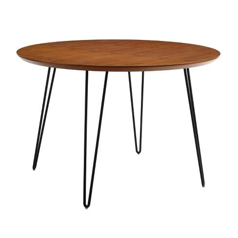 Incredible 46 Round Hairpin Leg Dining Table Walnut Saracina Home Interior Design Ideas Tzicisoteloinfo