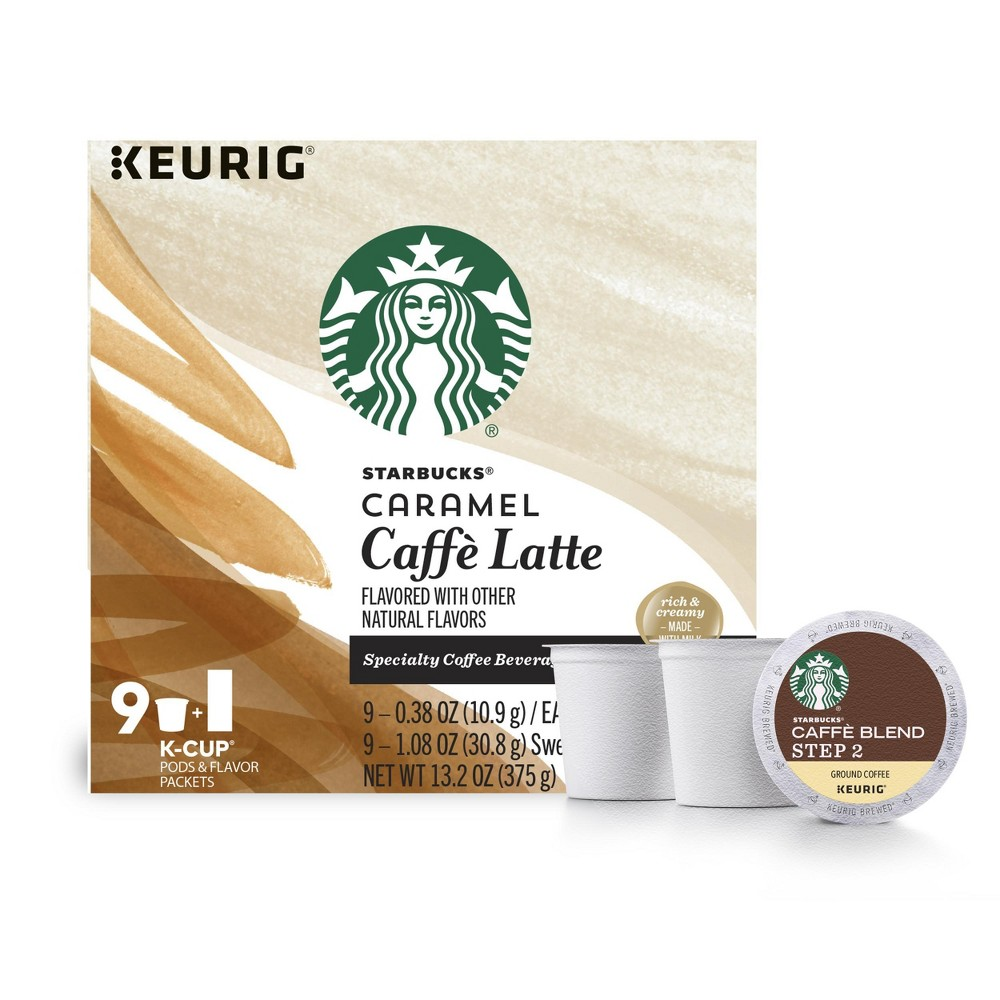 Starbucks Caramel Caffe Latte Specialty Coffee Beverage Medium Roast - Keurig K-Cup Pods - 9ct