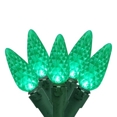 Brite Star 70ct C6 LED Faceted String Lights Green - 22.6' Green Wire