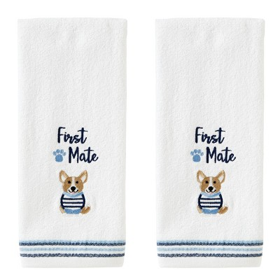 2pc First Mate Corgi Hand Towel Set White - SKL Home