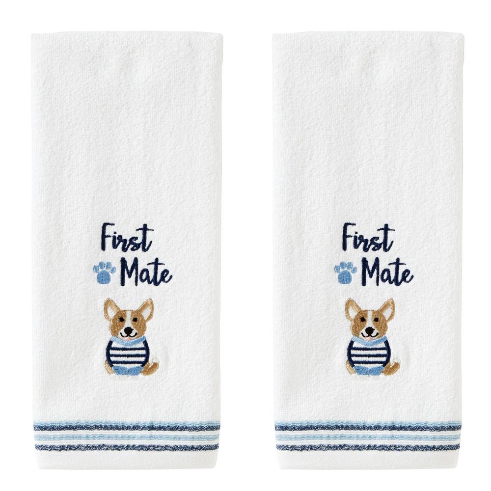 Image of 2pc First Mate Corgi Hand Towel Set White - SKL Home