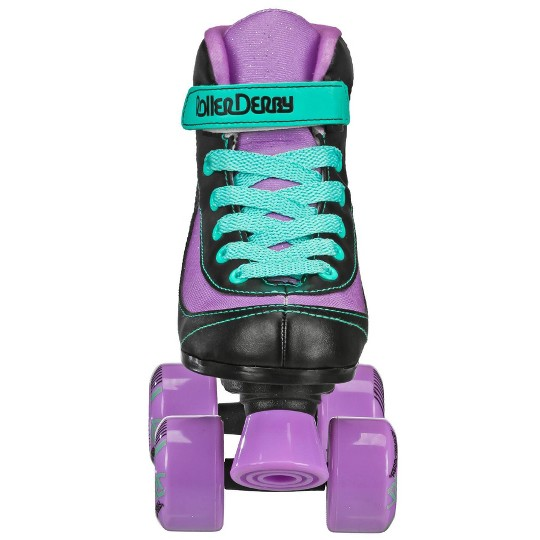 Roller Derby FireStar Youth Girl's Roller Skate - Purple/Black/Mint - J12, Girl's, Purple Black Green image number null