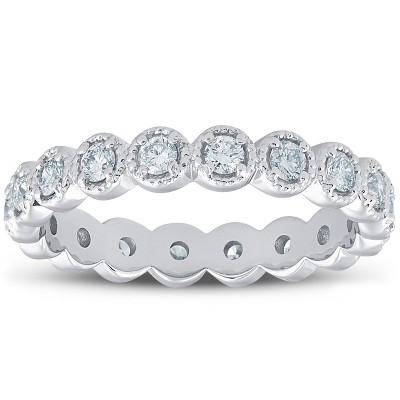 Pompeii3 3/4ct Staclable Diamond Wedding Vintage Eternity Ring 14k White Gold