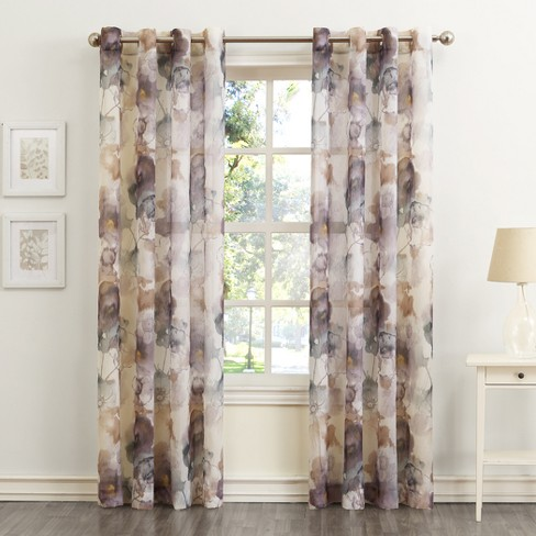 No. 918 Andorra Floral Print Crushed Voile Grommet Curtain Panel - image 1 of 3