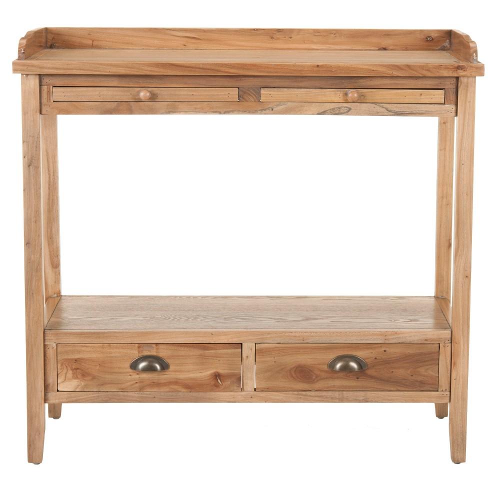Peter Console Table - Oak - Safavieh, Brown