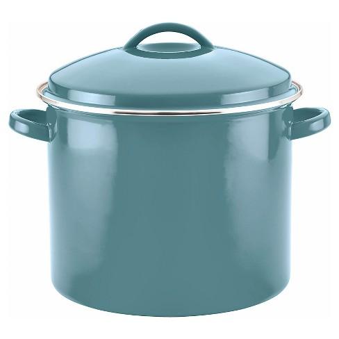 Farberware 16qt Porcelain Enamel Covered Stock Pot Aqua - image 1 of 4