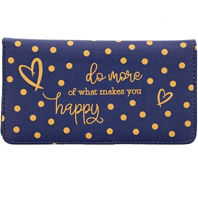 Juvale Checkbook Cover Wallet Credit Card Holder with RFID Blocking, Gold Foil Polka Dot Pattern, for Women, PU Leather Blue