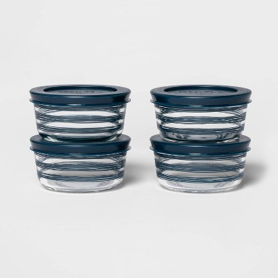 1 Cup 4pk Round Decorative Food Storage Container Set Navy - Room Essentials™