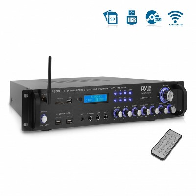 Pyle P3001BT 3,000 Watt Multi Channel Bluetooth Home Theater Hybrid Amplifier Receiver Pre-Amplifier with MP3/USB/SD/AUX Readers and FM Radio, Black