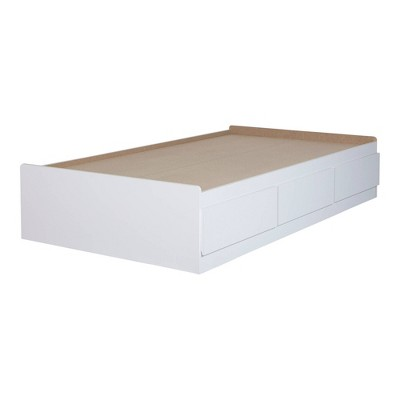 Twin Fusion Mates Bed with 3 Drawers   Pure White  - South Shore