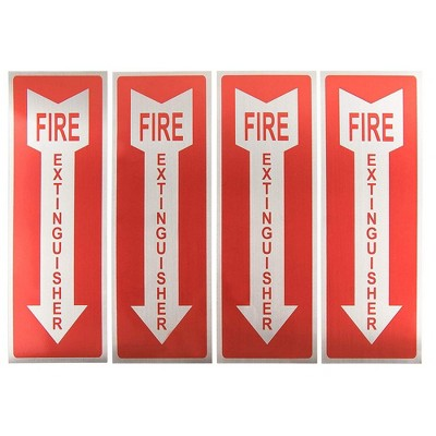Juvale Fire Extinguisher Signs - 4-Pack Metal Aluminum Fire Extinguisher Signs with Arrow Symbol, Self-Adhesive Decal, 3.9 x 11.75 Inches