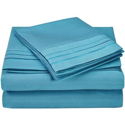 3-Line Embroidered Microfiber Wrinkle-Resistant Deep Pocket Sheet Set - Blue Nile Mills