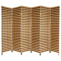 Two Tone Natural Fiber Room Divider - Oriental Furniture