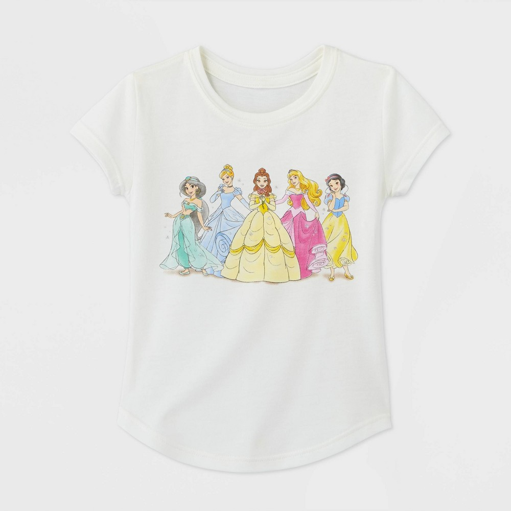 Toddler Girls 39 Disney Princess Line Up Graphic T Shirt Ivory 2t