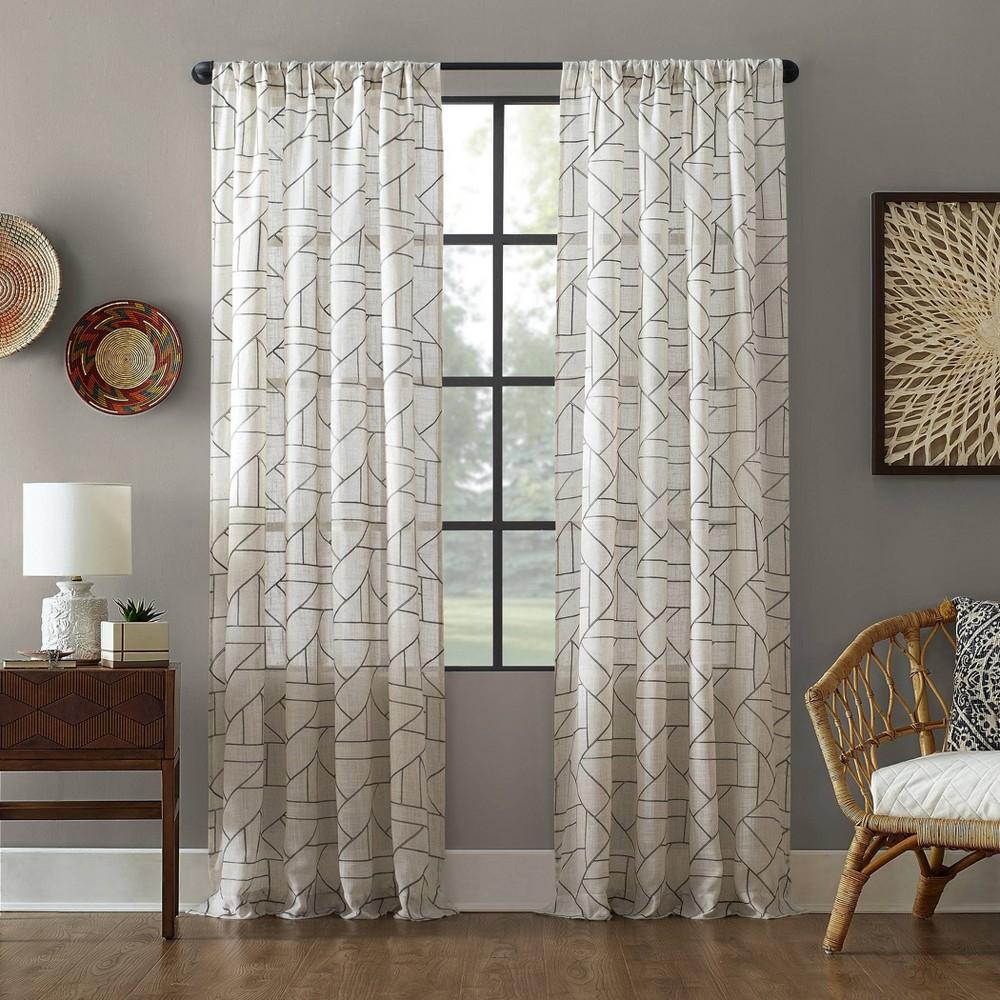 84x50 Jigsaw Embroidery Linen Blend Light Filtering Curtain Gray/Linen - Archaeo Reviews