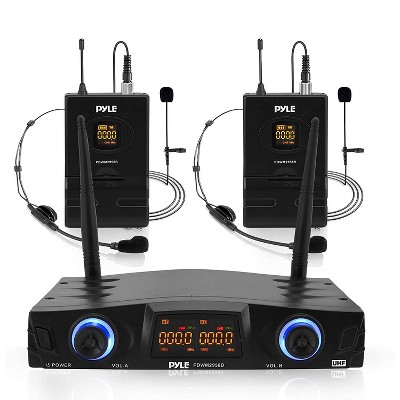 Pyle PDWM2958B Compact Portable Dual Channel Wireless Audio Microphone System Kit with Microphones, Headsets, and 2 Belt Pack Transmitters, Black