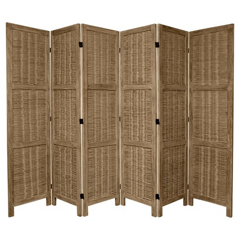 5 1/2 ft. Tall Bamboo Matchstick Woven Room Divider - Burnt Gray (6 Panel) - image 1 of 1