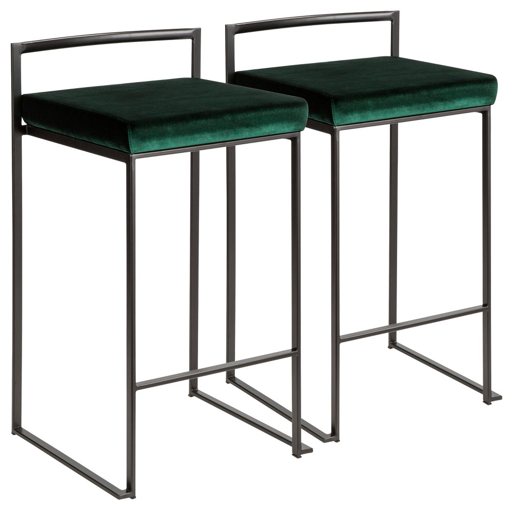 Fuji 26 In Contemporary Stackable Counter Stool Black with Green Velvet Cushion (Set of 2) - Lumisource