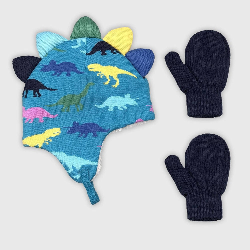 Image of Baby Boys' Hat And Glove Set - Cat & Jack Blue 12-24M, Boy's