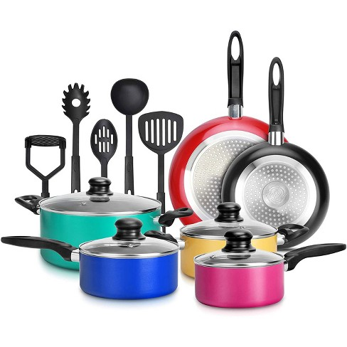 Nutrichef 15 Piece Nonstick Kitchen Cookware Set With 2 Cooking Pots, 2  Sauce Pots, 4 Lids, 2 Pans, And 5 Utensils, Multicolor : Target