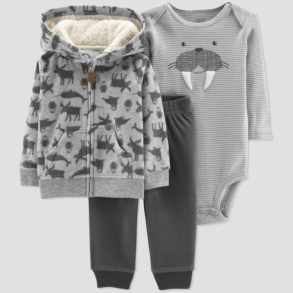 Baby Boys' 3pc Walrus Cardigan Set - Just One You made by carter's Gray Newborn