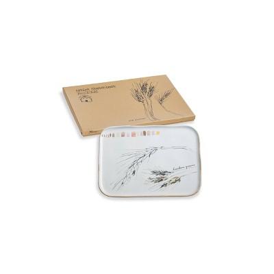 "12"" x 8"" Porcelain Farm To Table Wheat Serving Platter - Rosanna"