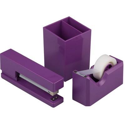 JAM Paper Stapler, Tape Dispenser & Pen Holder Desk Set Purple