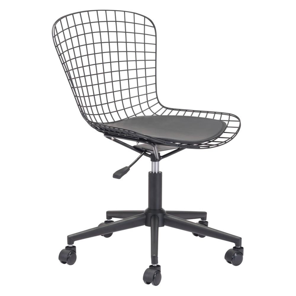 Modern Chrome Office Chair Black Cushion - ZM Home