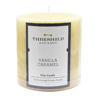 3  x 3  Mottled Pillar Candle Vanilla Caramel - Threshold™