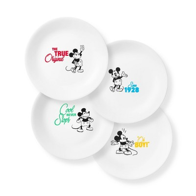 "Corelle Disney Mickey Mouse 8.5"" 4pk Glass Lunch Plates"