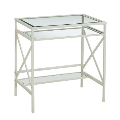 Holmes Metal/Glass Small Space Desk White - Aiden Lane