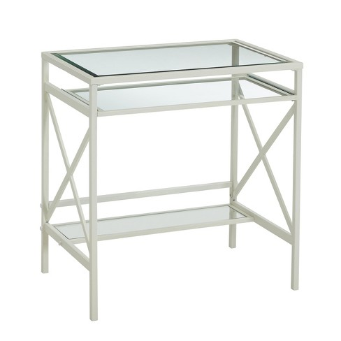 Holmes Metal/Glass Small Space Desk White - Aiden Lane - image 1 of 4