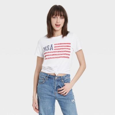 Women's USA Flag Short Sleeve Graphic T-Shirt - White