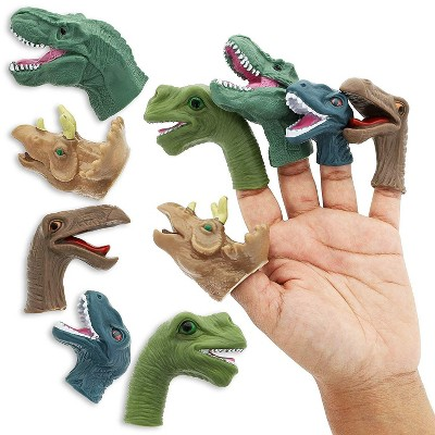 Juvale 10-Pack Kids Finger Dinosaur Puppets Toys, 5 Assorted Designs