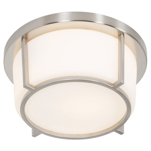 Smart 1-Light Flush Mount with Opal Glass Shade - Satin Nickel - Rogue Dcor - image 1 of 3