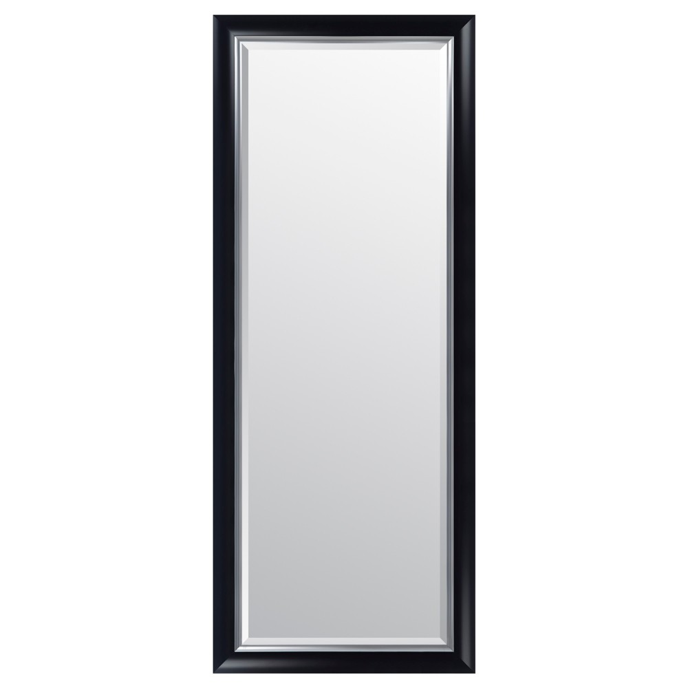 "Image of ""24""""x70"""" Scoop Framed Wall or Leaner Mirror Black - Gallery Solutions"""