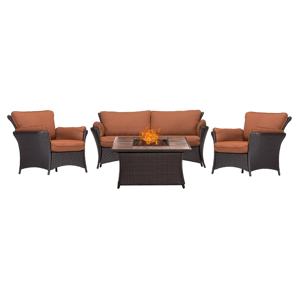 Strathmere Allure 4pc All-Weather Wicker Patio Conversation Set w/ Fire Pit Table - Red - Hanover