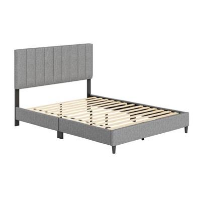 Full Malik Mid-Century Vertical Channel Linen Upholstered Platform Bed - Eco Dream
