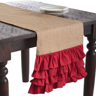 Ruffle Design Jute Runner Red (16 x90 )