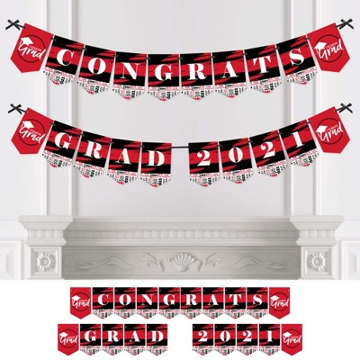 Big Dot of Happiness Red Grad - Best is Yet to Come - Red Graduation Party Bunting Banner - Party Decorations - Congrats Grad 2021