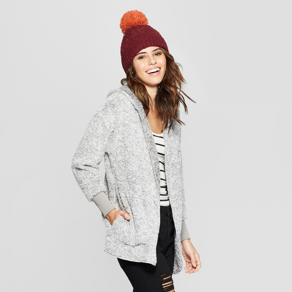 Women's Sherpa Cozy Cardigan - Almost Famous (Juniors') Gray M