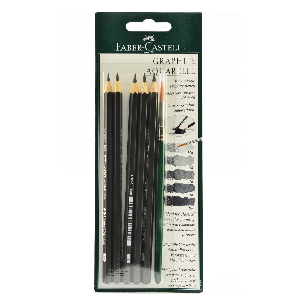 Image of Graphite Aquarelle Pencils with Brush 5ct - Faber-Castell