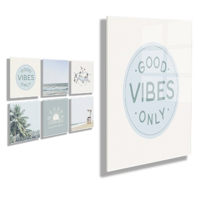 """10"""" x 10"""" 6pc Good Vibes Floating Acrylic Art Sets - Kate & Laurel All Things Decor"""