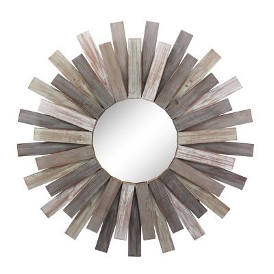 """31.3"""" x 31.3"""" Wooden Sunburst Wall Mirror Brown - Stonebriar Collection"""