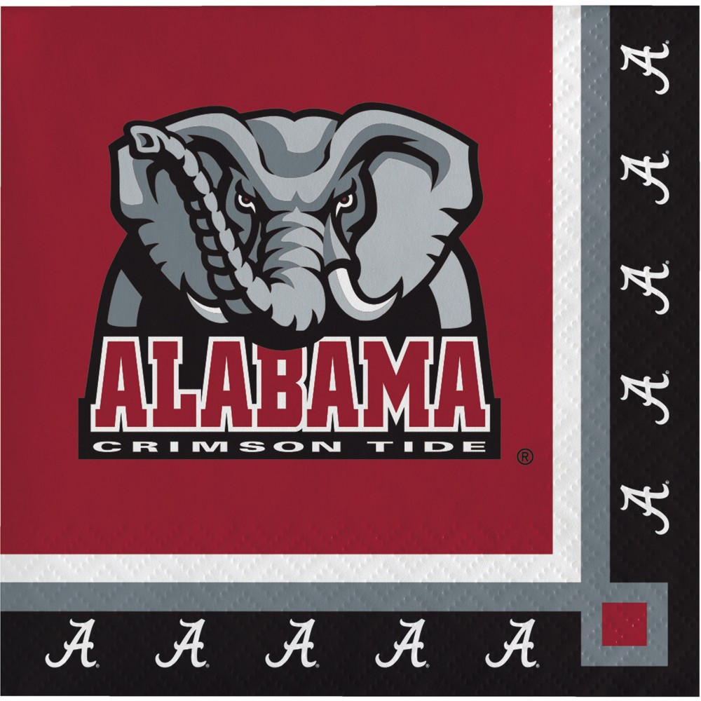 Image of 20ct Alabama Crimson Tide Beverage Napkins Red