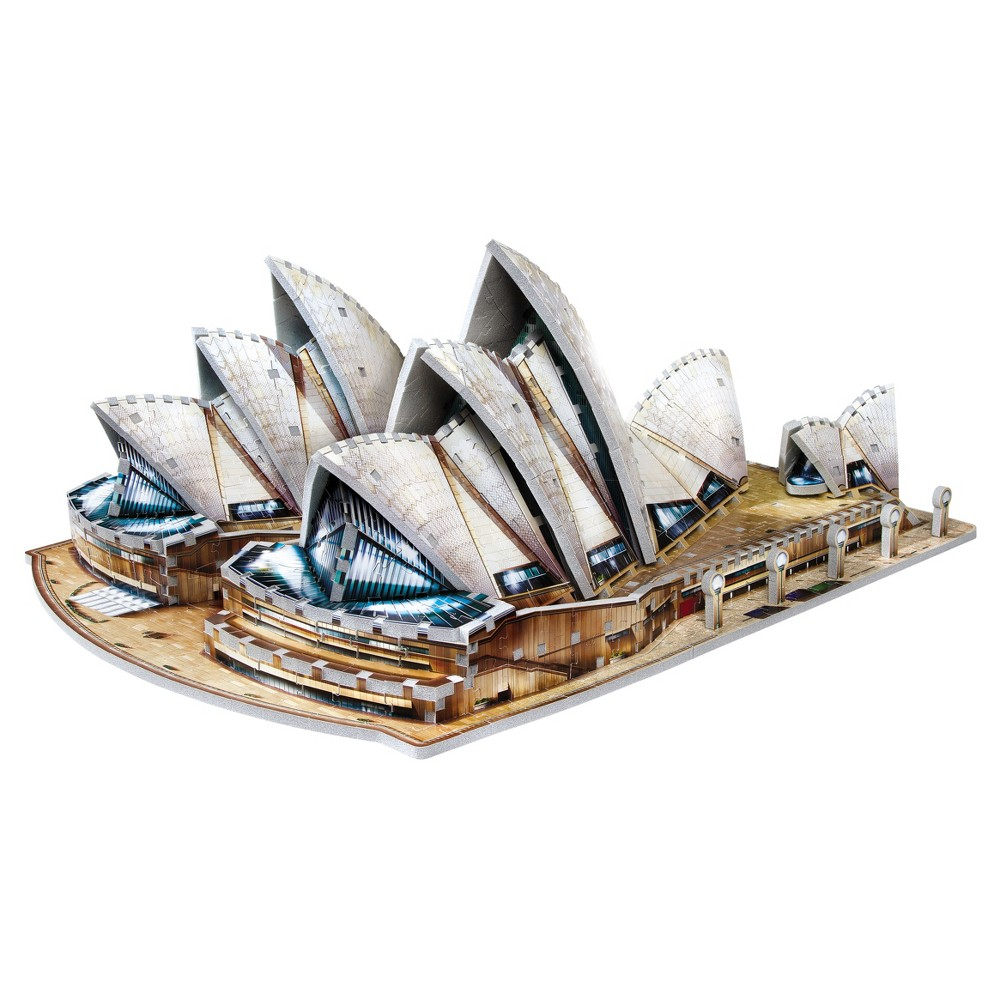 Wrebbit 3D - Sydney Opera House 2006 3D Puzzle 925pc Famous architectural work of the 20th century, Sydney Opera House, a renown place of performing arts in Australia, in a 3D puzzle format will charm the fans with its unique and original design, veils and shell forms. The full color Foam backed puzzle has 925 pieces. Age - 12 and up. Approximate finished dimensions - 22.24 x 17.22 x 8.76 inches. Warning: Choking Hazard - Small parts. Not for children under 3 yrs. Gender: Unisex.
