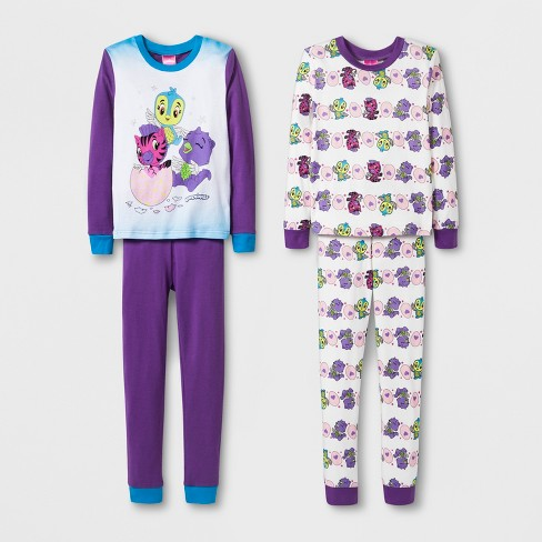 616b8ac09ba1 Girls  Hatchimals 4pc Pajama Set - Purple   Target