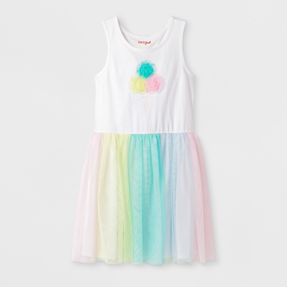 Girls' Sleeveless Ice Cream Birthday Dress - Cat & Jack White S