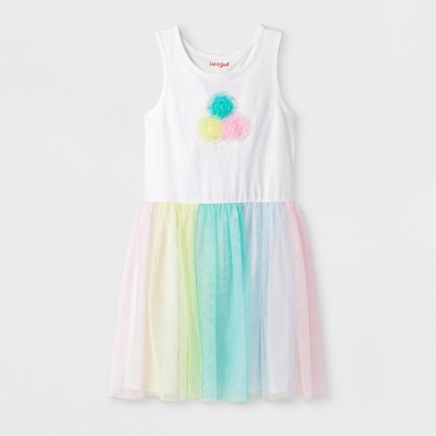 Girls' Sleeveless Ice Cream Birthday Dress - Cat & Jack™ White - image 1 of 2